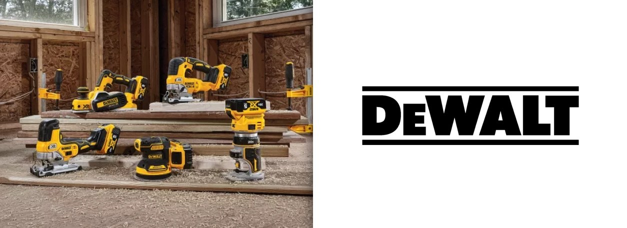 DeWALT logo with power tools