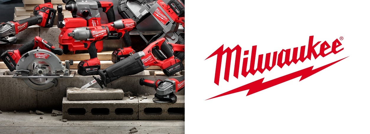 Milwaukee power tools with Milwaukee logo