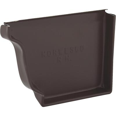 NorWesco 4 In. Galvanized Brown Right Gutter End Cap