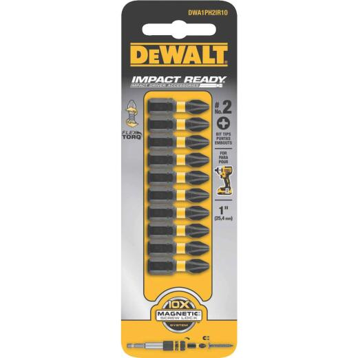 DeWalt FlexTorq 1 In. #2 Phillips Insert Impact Screwdriver Bit (10-Pack)