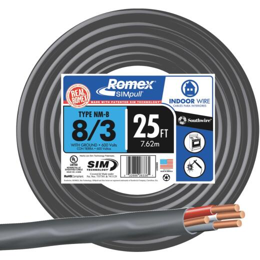 Romex 25 Ft. 8-3 Stranded Black NMW/G Wire