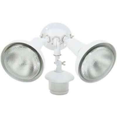 White Motion Sensing Dusk To Dawn Incandescent Floodlight Fixture