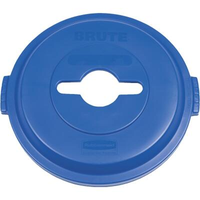 Rubbermaid Commercial Brute Blue Recycle Trash Can Lid for 32 Gal. Trash Can